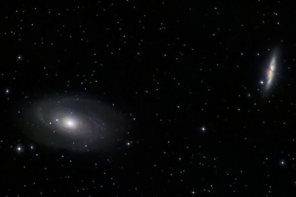M81 (Spiral Galaxy) - M82 (Irregular Galaxy) - UK EQ5  Skywatcher EQ5 autoguided - StarTravel 150 refractor (750mm) - Nikon D90