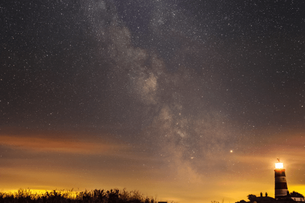 Happisburgh - Milky Way with Lighthouse  Canon 6D mod, 24-105mm L lens, tripod (stack)