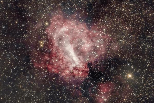 Omega/Swan Nebula (M17)  Skywatcher HEQ5 autoguided - Altair Atro 8 inch Ritchey Chretien (1625mm) - Astro Tech 2 inch Field Flattener - Canon 6D mod