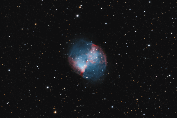 M27 - Dumbbell (Planetary Nebula) - UK HEQ5  Skywatcher HEQ5 autoguided - Altair Atro 8 inch Ritchey Chretien (1625mm) - Nikon D750