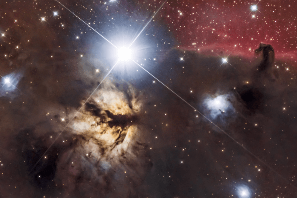 Flame Nebula (NGC 2024) + Horsehead (IC 434)  Skywatcher HEQ5 autoguided - Altair Atro 8 inch Ritchey Chretien (1625mm) - Astro Tech 2 inch Field Flattener - Nikon D750