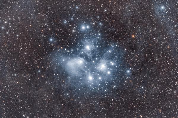 Pleiades - M45 - UK HEQ5  Skywatcher HEQ5 autoguided - Altair Astro 80 F/6 Triplet Super APO (480mm) - Altair Astro 1x Planostar Doublet field flattener - Nikon D750