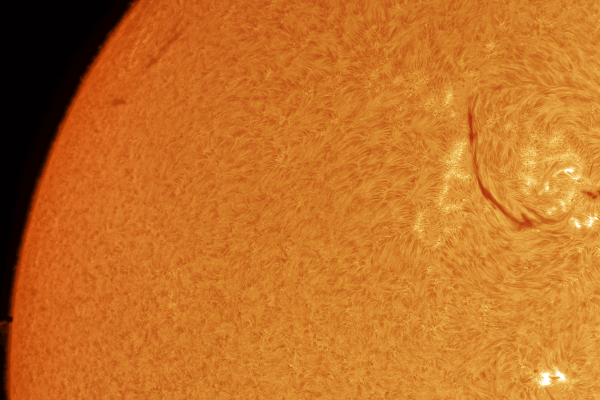 Sun in hydrogen alpha: Mercury transit 1st contact (bottom left) (PRINT AVAILABLE)